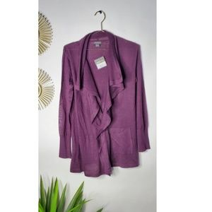 Eddie Bauer Eggplant Sscaption Open Cardigan xs
